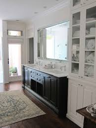 black double vanity with white marble countertop transitional