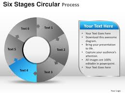 six stages circular process powerpoint templates