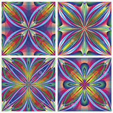 set of seamless art deco tiles with historic motifs in vivid