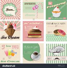 Cherry Cupcake Invitation Card Royalty Vintage Labels Invitation Cards Sweets Cupcake Stock Vector