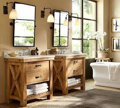 pottery barn bathroom ideas benchwright sink console rustic mahogany finish pottery