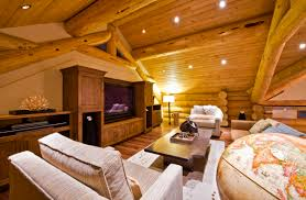 witching luxury log cabin interior design using modern tv media