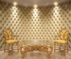 leather walls luxurious interior with leather walls and classical furniture