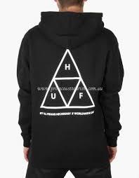 huf triple triangle pullover hoodie black