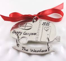 happy camper christmas ornament custom hand stamped