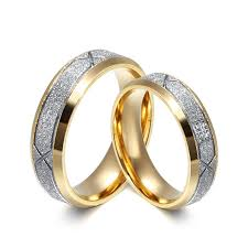gold promise rings stylish gold and silver gemstone titanium steel promise ring for