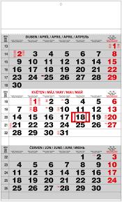 Kalendář 2018 Svátky Kalendář A3 Tříměsíční S Mez Svátky černý