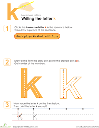 writing the letter k worksheet education com