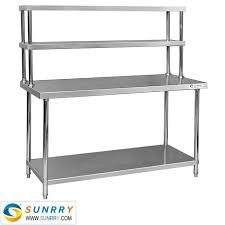 stainless steel work table with shelves sy wt715r stainless steel working table two layers with shelf w