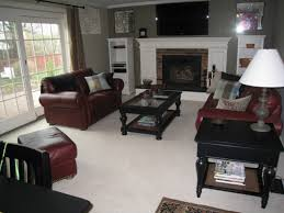 Family Room Design With Brown Leather Sofa Red Leather Couch Decorating Ideas The Most Impressive Home Design