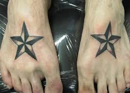 stylish nautical star men tattoo on foot tattoomagz