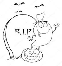 graveyard clipart black and white outlined ghost waving from pumpkin near tombstone and bats u2014 stock
