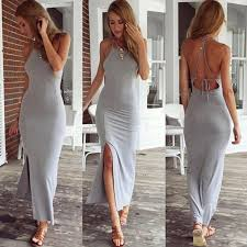 new fashion women dress grey sleeveless summer dress cotton