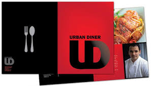 half fold brochure template for urban diner restaurant order