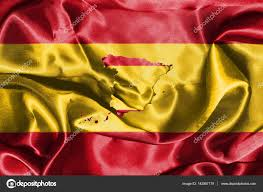 Flags In Spanish Spanish National Flag Waving In The Wind With Map Of Spain On It