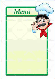 free blank menu template menu templates for template letter of recommendation for