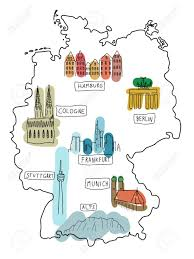 Map Of Stuttgart Germany by Germany Doodle Map With Famous Places Berlin Hamburg Cologne