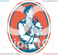clipart of a retro scottish bagpipe man in an oval royalty free