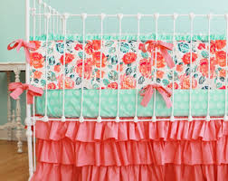 Coral And Mint Bedding View Coral Bedding By Lottiedababy On Etsy