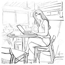 typing on laptop computer sketch young woman chatting online