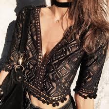 choker necklace black lace images Lace top see through coachella boho black lace deep v v neck jpg