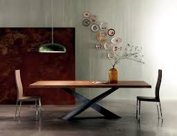 steel and wood table contemporary wooden table table base raw steel interior design