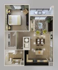 500 square feet with 1 bedroom apartment 3d plans small house