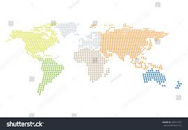 Continent World Map by Dotted World Map Perspective Separately Selectable Stock Vector
