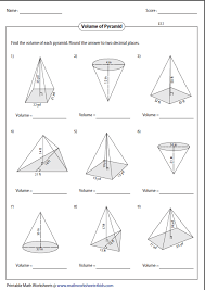 surface area of pyramids and cones worksheet volume worksheets