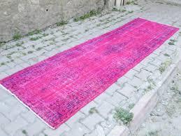 Overdyed Runner Rug Vintage Overdyed Runner Rug Pink Overdyed Runner Rug By Oldvinshop
