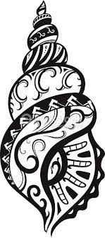 shell with ornaments in the style of the maori vector thinkstock