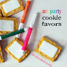 edible party favors a kid s party favors canvas cookies with edible writers
