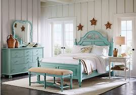cindy crawford home seaside blue green low poster 7 pc queen