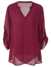 plus size blouse 2018 plus size split neck adjustable sleeve blouse wine xl in