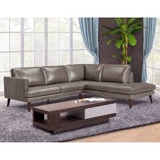 raton right hand facing top grain leather living room sectional