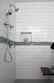 subway tile in bathroom ideas white subway tile shower with accent hd master bathroom shower