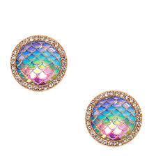 mermaid earrings iridescent mermaid scales oversized stud earrings icing us