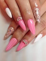 White Pink Nail 55 Trendy Bow Nail Designs Golfian Com