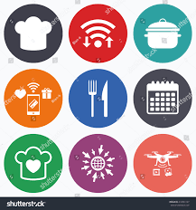Wifi Cooker by Wifi Mobile Payments Drones Icons Chief Stock Vector 412061167