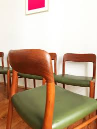 Leather Dining Chair Mid Century Model 75 Green Leather Dining Chairs By Niels O