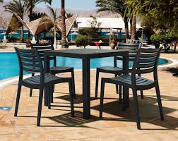 Square Patio Table by Compamia Ares Resin Square Outdoor Dining Set 5 Piece With Side