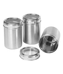 Stainless Steel Canister Sets Kitchen Dynore Stainless Steel Kitchen Storage Canisters Dabba With See
