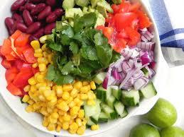 colorful chopped rice salad v gf