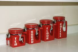 retro style kitchen canisters in red colors extravagant and