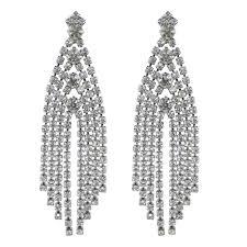 dramatic earrings austrian clear silver tone dramatic deco tassel earrings
