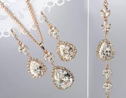 bridal jewelry necklace earrings images Wedding necklace and earring sets in gold rose gold jewelry set jpg