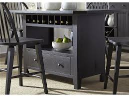 gothic black charcoal wooden kitchen island table combination with wine rack jpg