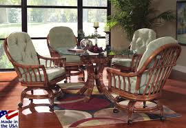 Indoor Wicker Dining Room Chairs Grand Isle Swivel And Tilt Caster Dining Set 3760 By Classic