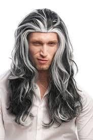 grey streaks in hair or man party wig halloween fancy dress long wavy black with grey