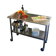 2ft x 4ft stainless steel top kitchen prep table with locking